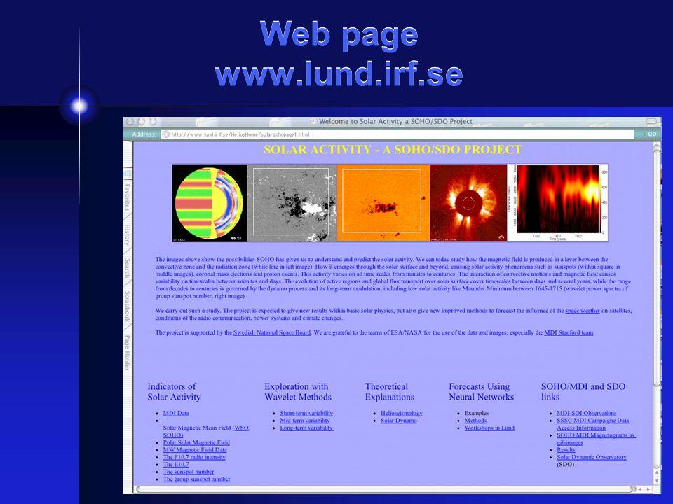 Web page www.lund.irf.se