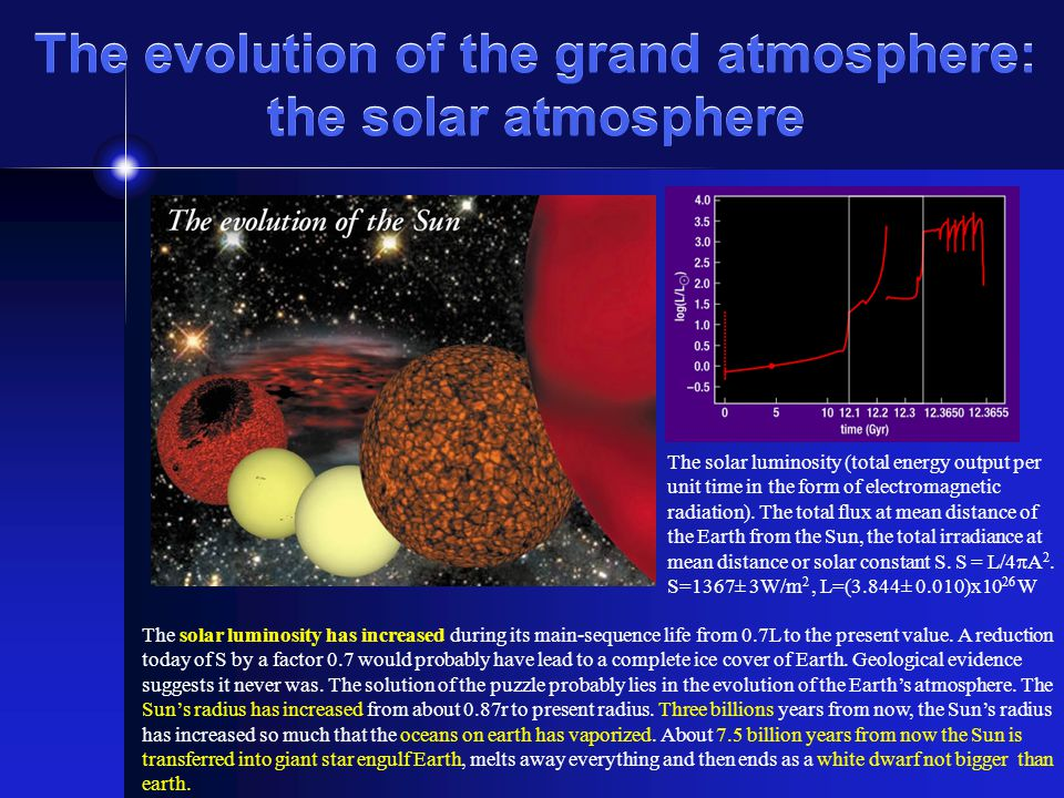 The evolution of the grand atmosphere: the solar atmosphere The solar luminosity (total energy output per unit time in the form of electromagnetic radiation).