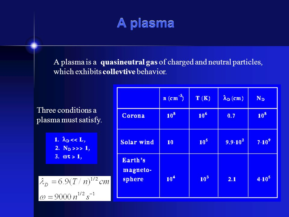 A plasma A plasma is a quasineutral gas of charged and neutral particles, which exhibits collevtive behavior. Three conditions a plasma must satisfy.