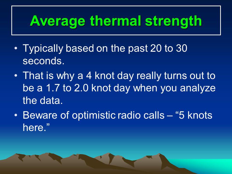 Thermal strength* in knots * (Assuming 4 turns to center) Height gained 1 knot climb 2 knots climb 4 knots climb 6 knots climb 1,000 ft.