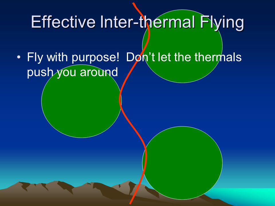 Fly with purpose! Dont let the thermals push you around Effective Inter-thermal Flying