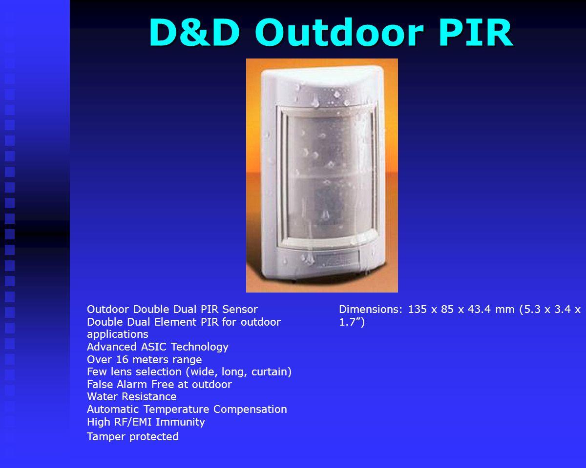 Genius + PIR Genius + PIR Dimensions: 88 x 48 x 33 mm (3.46 x1.9 x1.3) Double Quad Sensors enhanced PIR New Genius PIR (Plus version) Double Dual PIR