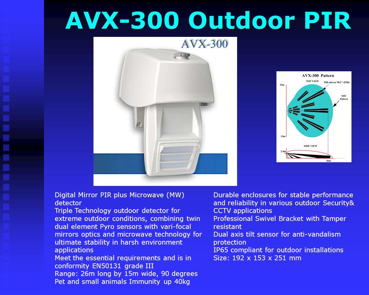 D&D Outdoor PIR D&D Outdoor PIR Dimensions: 135 x 85 x 43.4 mm (5.3 x 3.4 x 1.7) Outdoor Double Dual PIR Sensor Double Dual Element PIR for outdoor ap