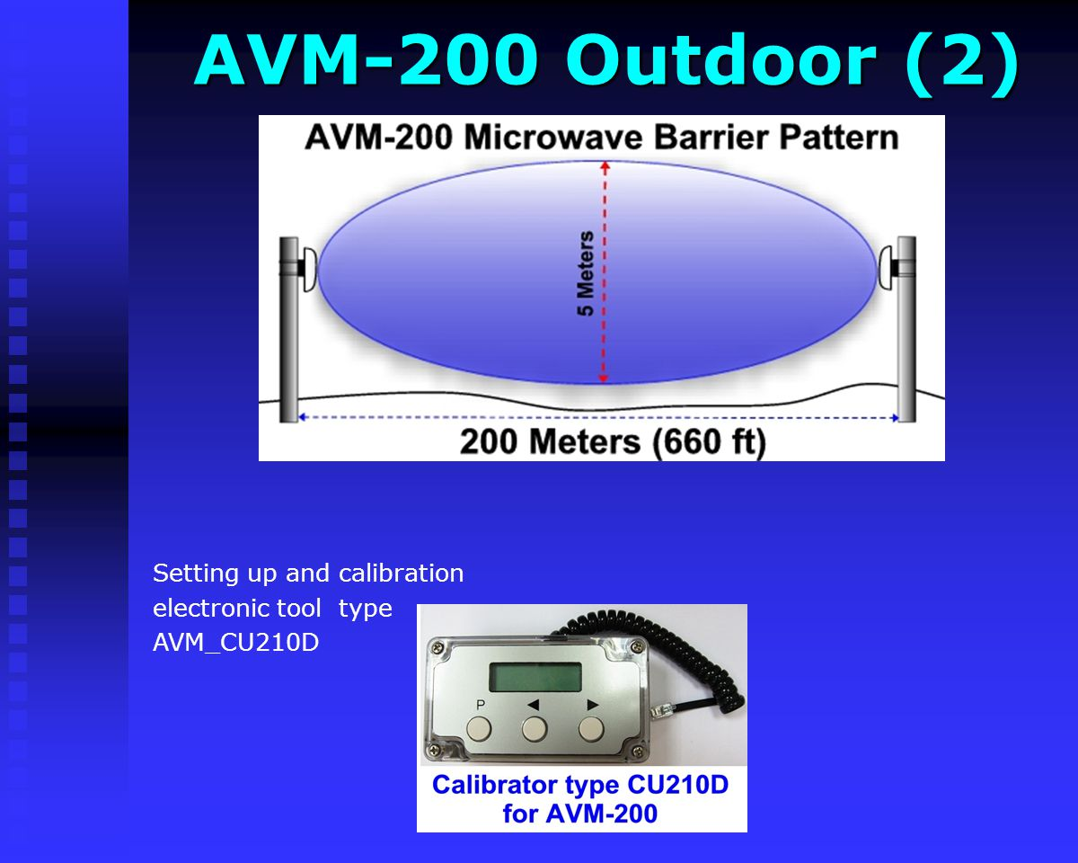 AVM-200 Outdoor MW AVM-200 Outdoor MW Dual head outdoor microwave (radar) burglary detector The AVM-200 comprise a transmitter (T) and receiver (R) un