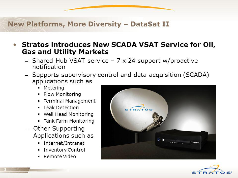 3 New Platforms, More Diversity – DataSat II Stratos introduces New SCADA VSAT Service for Oil, Gas and Utility Markets – Shared Hub VSAT service – 7
