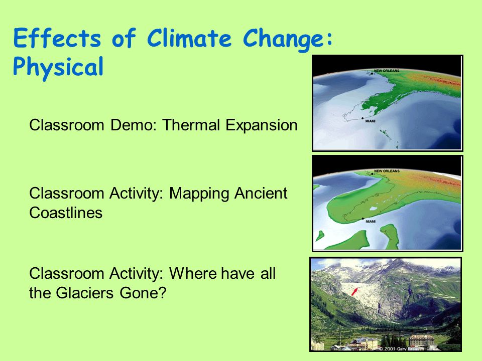 Effects of Climate Change: Physical Classroom Activity: Where have all the Glaciers Gone? Classroom Activity: Mapping Ancient Coastlines Classroom Dem