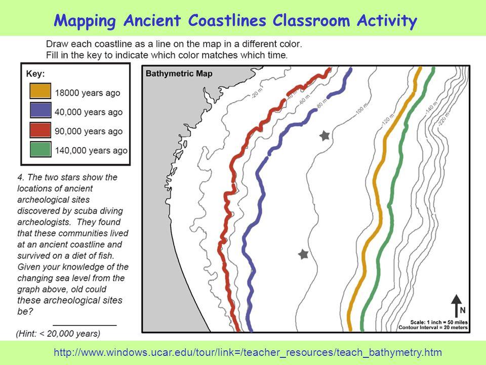 Mapping Ancient Coastlines Classroom Activity http://www.windows.ucar.edu/tour/link=/teacher_resources/teach_bathymetry.htm