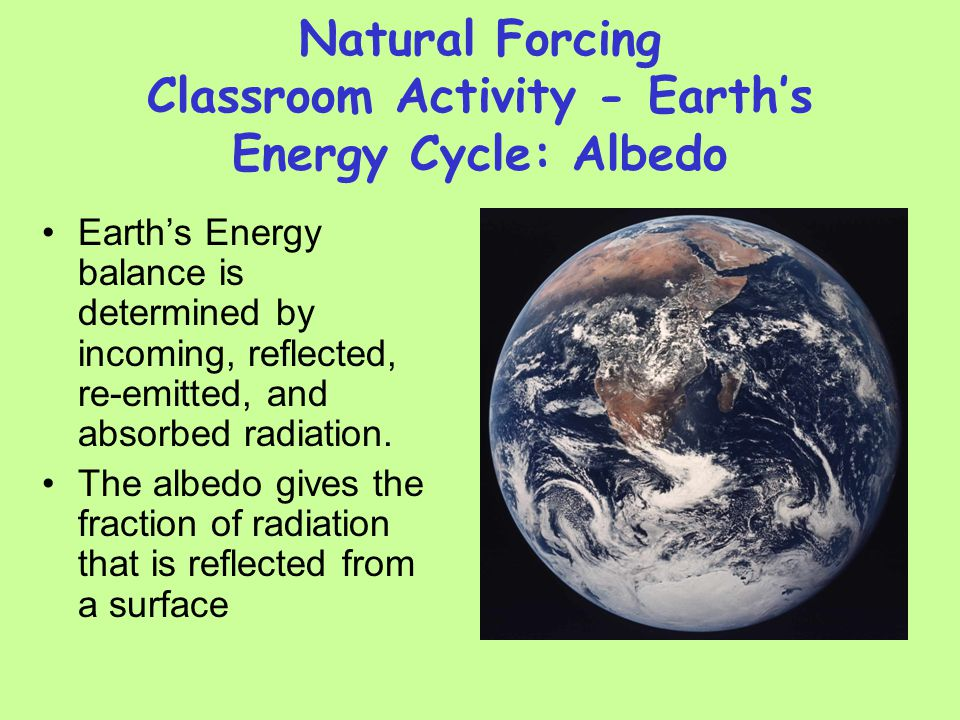 Natural Forcing Classroom Activity - Earths Energy Cycle: Albedo Earths Energy balance is determined by incoming, reflected, re-emitted, and absorbed