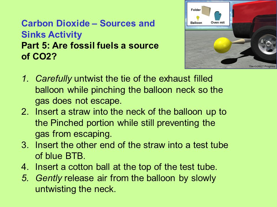 Carbon Dioxide – Sources and Sinks Activity Part 5: Are fossil fuels a source of CO2? 1.Carefully untwist the tie of the exhaust filled balloon while
