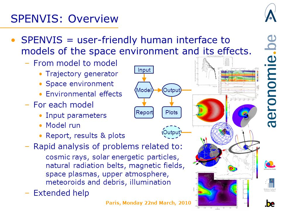 Paris, Monday 22nd March, 2010 SPENVIS: Overview SPENVIS = user-friendly human interface to models of the space environment and its effects.