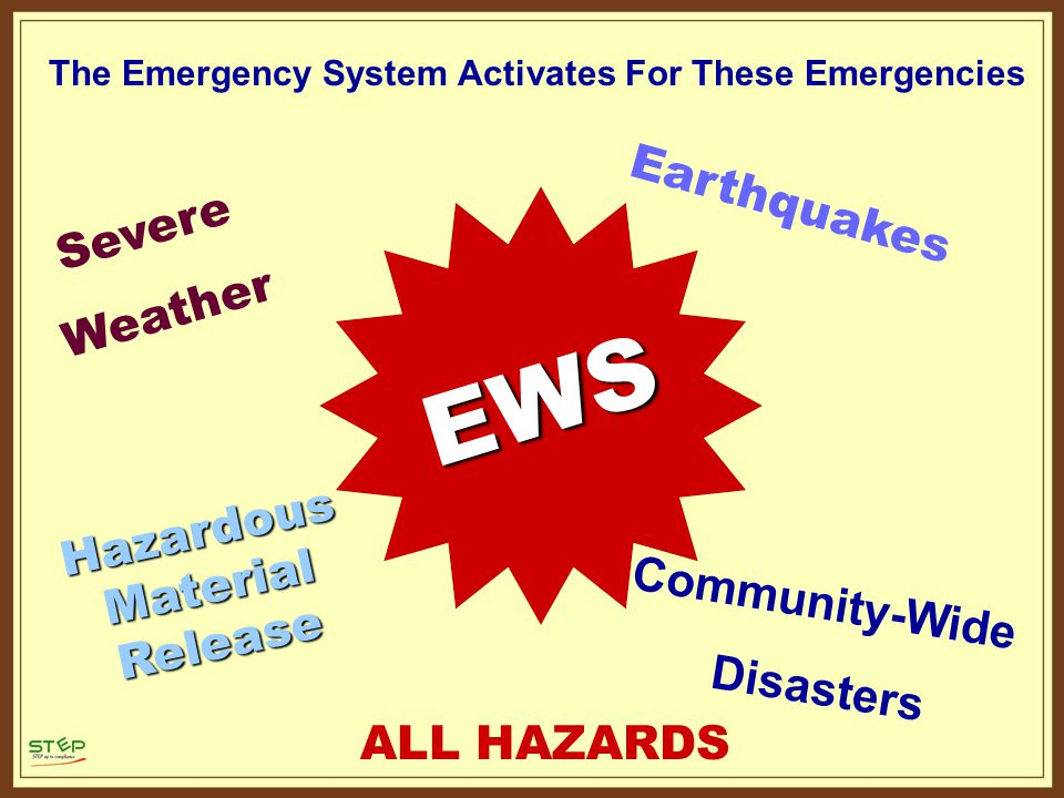 EWS ALL HAZARDS Earthquakes Severe Weather The Emergency System Activates For These Emergencies Community-Wide Disasters Hazardous Material Release