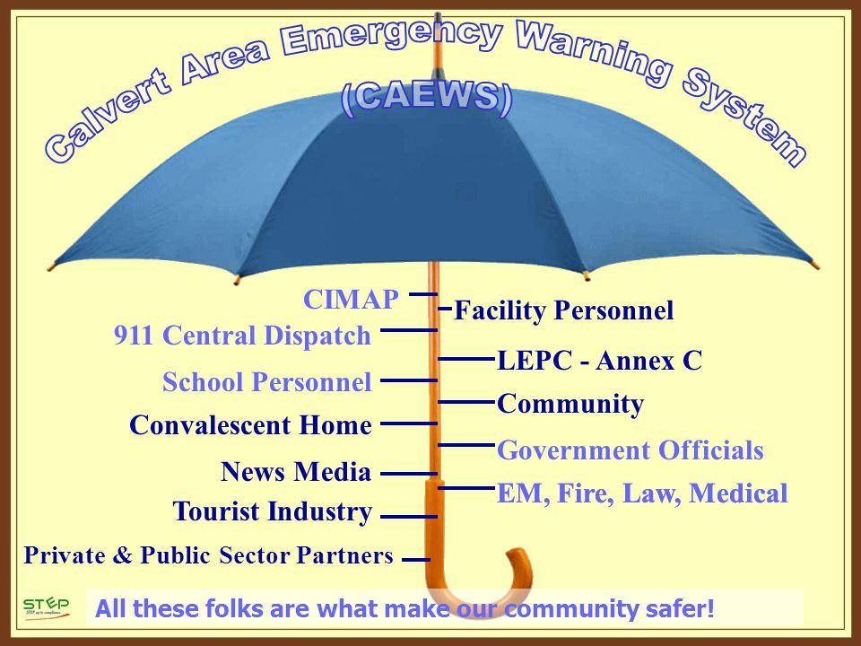 Facility Personnel LEPC - Annex C Community CIMAP 911 Central Dispatch School Personnel Convalescent Home Government Officials EM, Fire, Law, Medical News Media Tourist Industry All these folks are what make our community safer.