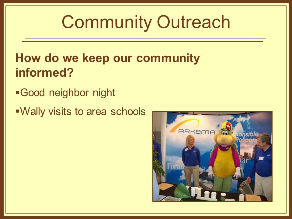 Community Outreach How do we keep our community informed.