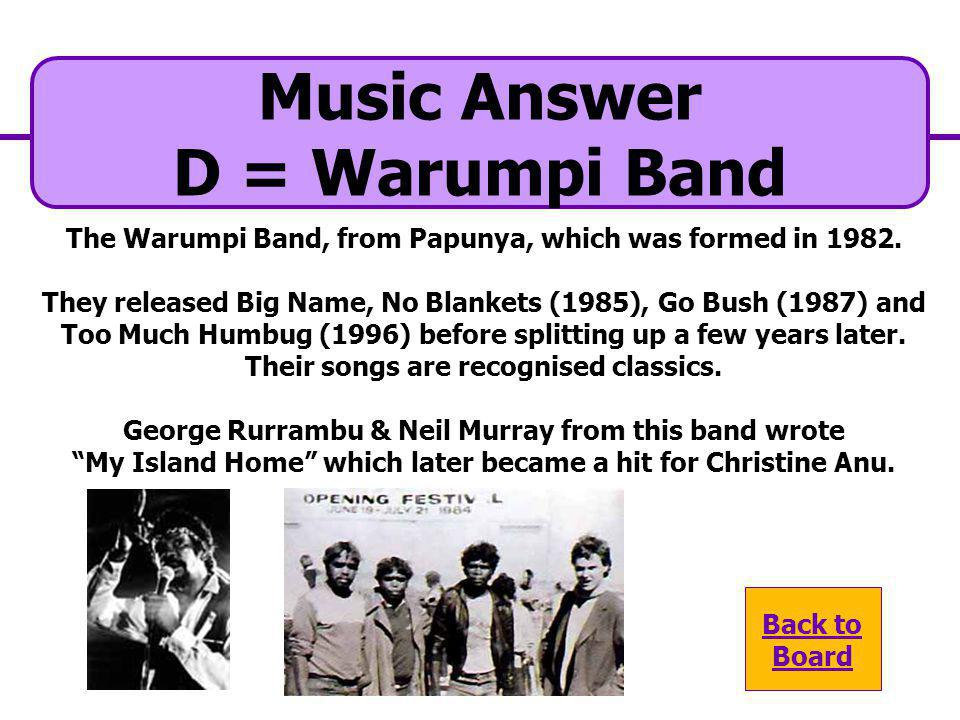 A. Blek Bela Mujik D. Warumpi Band Music Question Which well known band from Papunya came to become a household name in the 1980s and 1990s? C. Midnig