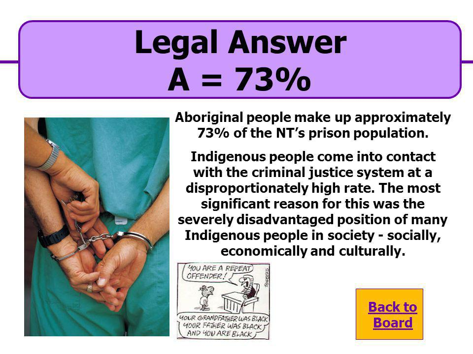 A. 73% Legal Question What is the percentage of Aboriginal people in the NT prison system? C. 61% B. 82% D. 26%