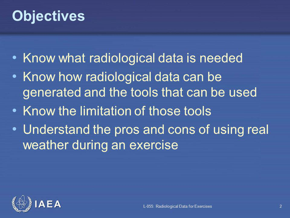 L-055: Radiological Data for Exercises2 Objectives Know what radiological data is needed Know how radiological data can be generated and the tools that can be used Know the limitation of those tools Understand the pros and cons of using real weather during an exercise