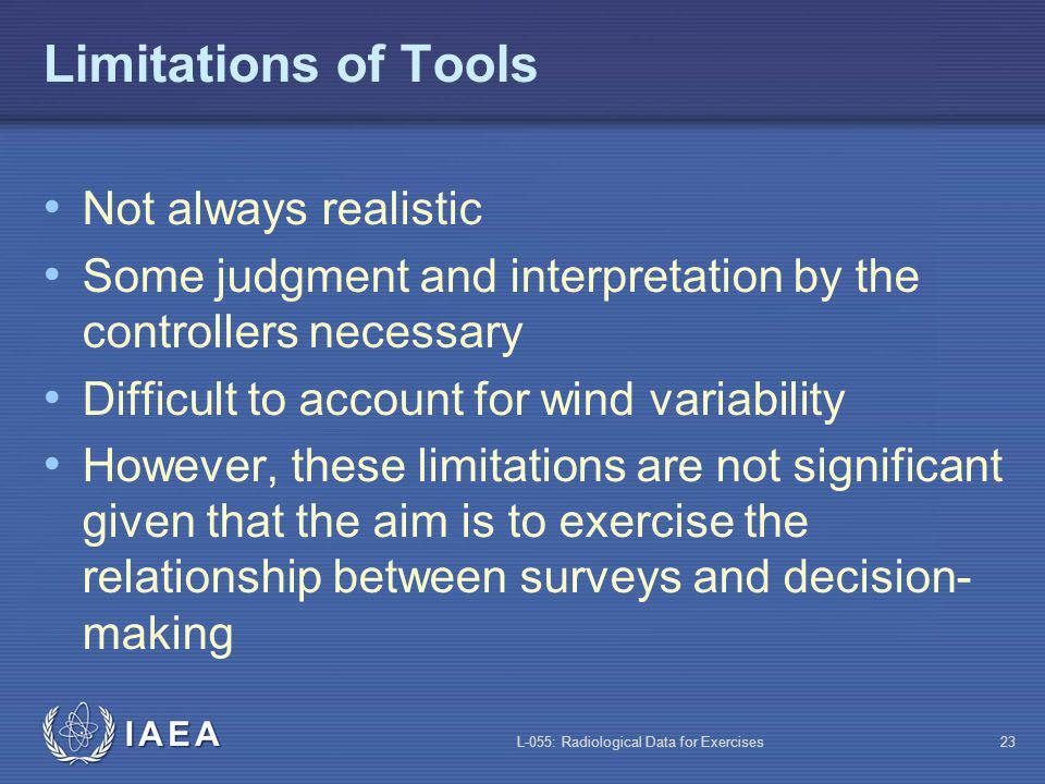 L-055: Radiological Data for Exercises23 Limitations of Tools Not always realistic Some judgment and interpretation by the controllers necessary Difficult to account for wind variability However, these limitations are not significant given that the aim is to exercise the relationship between surveys and decision- making