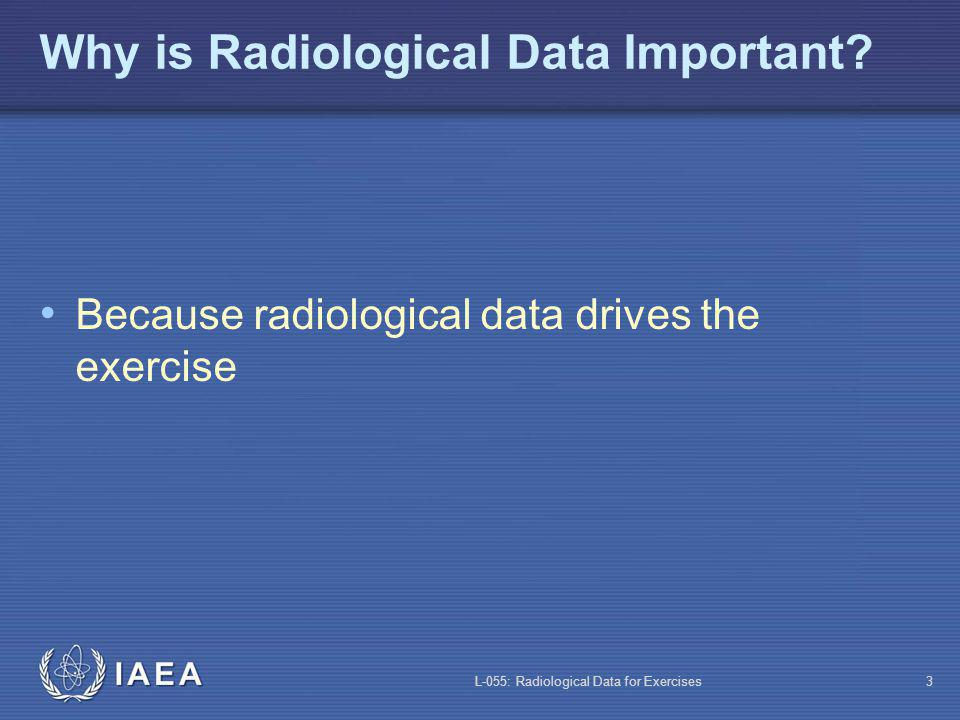 L-055: Radiological Data for Exercises4 Type of Radiological Data In-facility Ambient radiation Contamination Air concentrations Environmental Ambient radiation Contamination Air concentrations Isotopic data