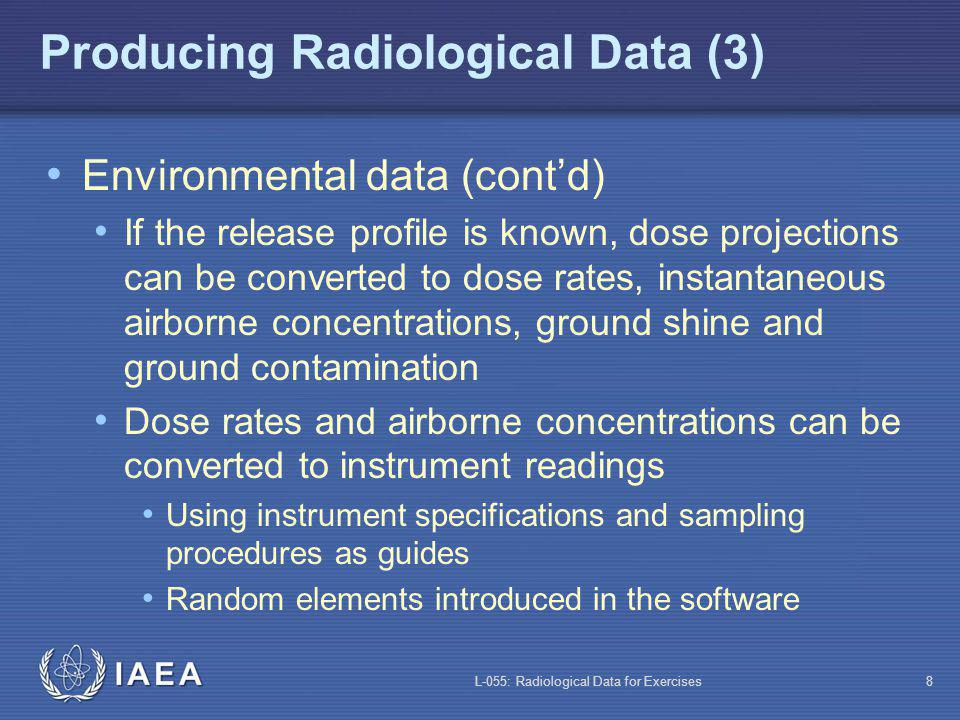 L-055: Radiological Data for Exercises8 Producing Radiological Data (3) Environmental data (contd) If the release profile is known, dose projections can be converted to dose rates, instantaneous airborne concentrations, ground shine and ground contamination Dose rates and airborne concentrations can be converted to instrument readings Using instrument specifications and sampling procedures as guides Random elements introduced in the software
