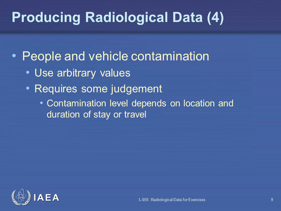 L-055: Radiological Data for Exercises9 Producing Radiological Data (4) People and vehicle contamination Use arbitrary values Requires some judgement