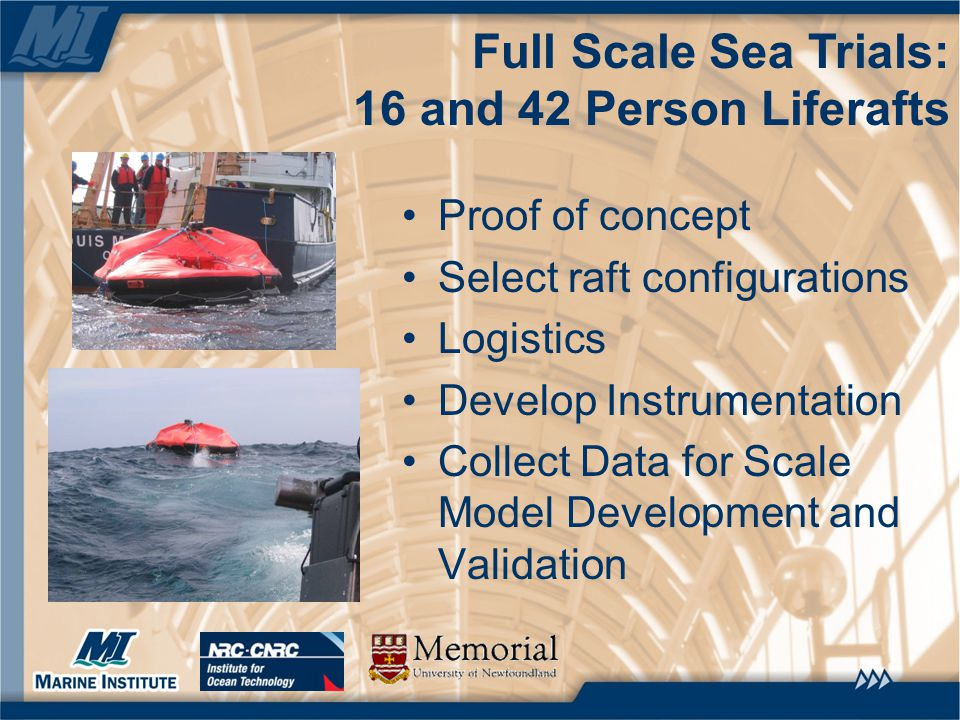 Full Scale Sea Trials: 16 and 42 Person Liferafts Proof of concept Select raft configurations Logistics Develop Instrumentation Collect Data for Scale