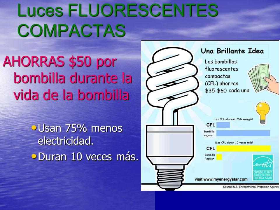 Luces FLUORESCENTES COMPACTAS AHORRAS $50 por bombilla durante la vida de la bombilla Usan 75% menos electricidad.