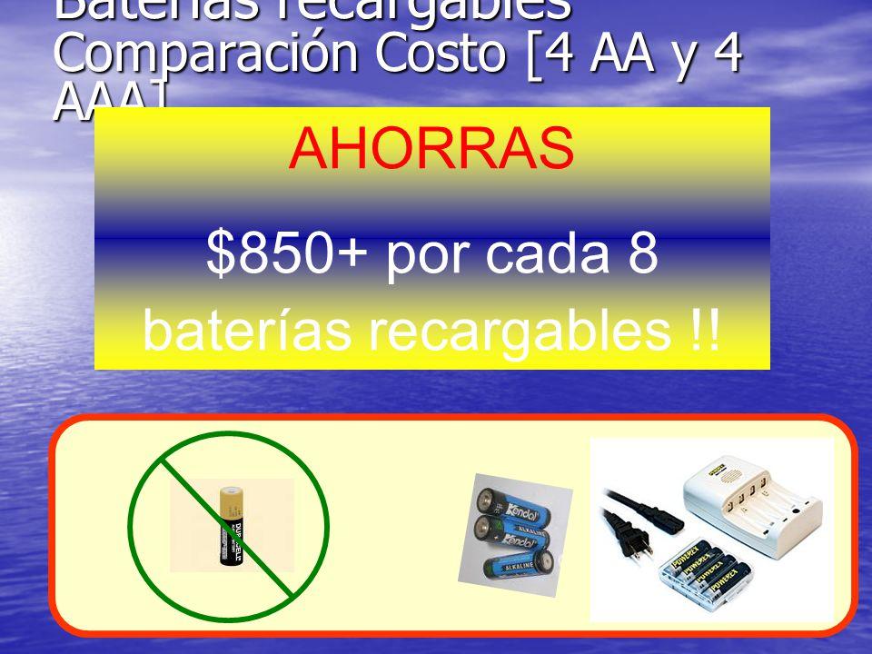 Baterías recargables Comparación Costo [4 AA y 4 AAA] AHORRAS $850+ por cada 8 baterías recargables !.