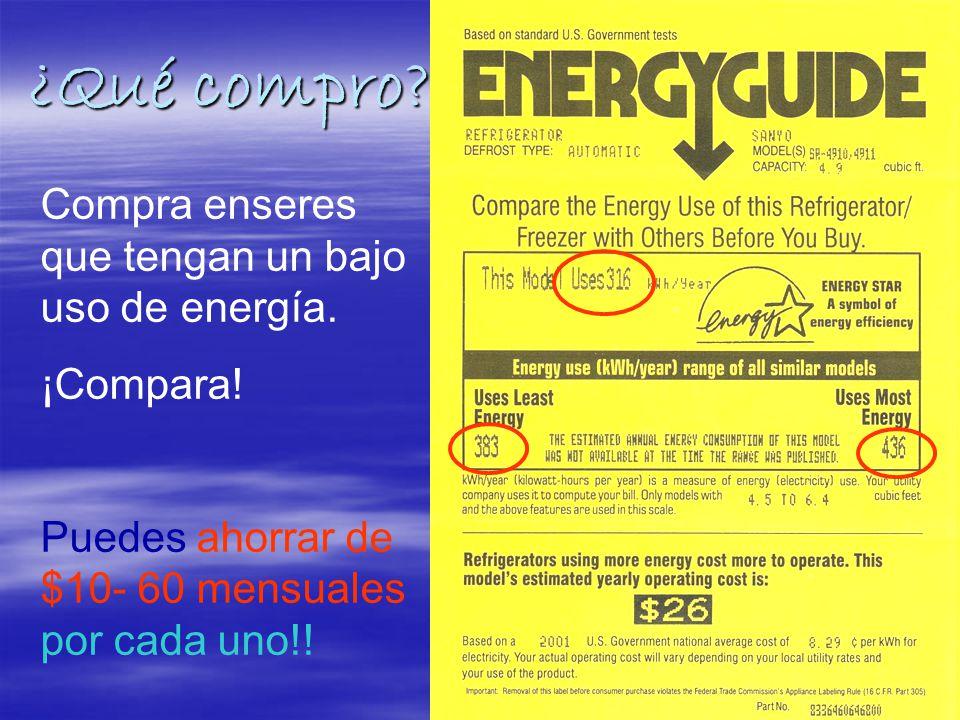 ¿Qué compro. Compra enseres que tengan un bajo uso de energía.