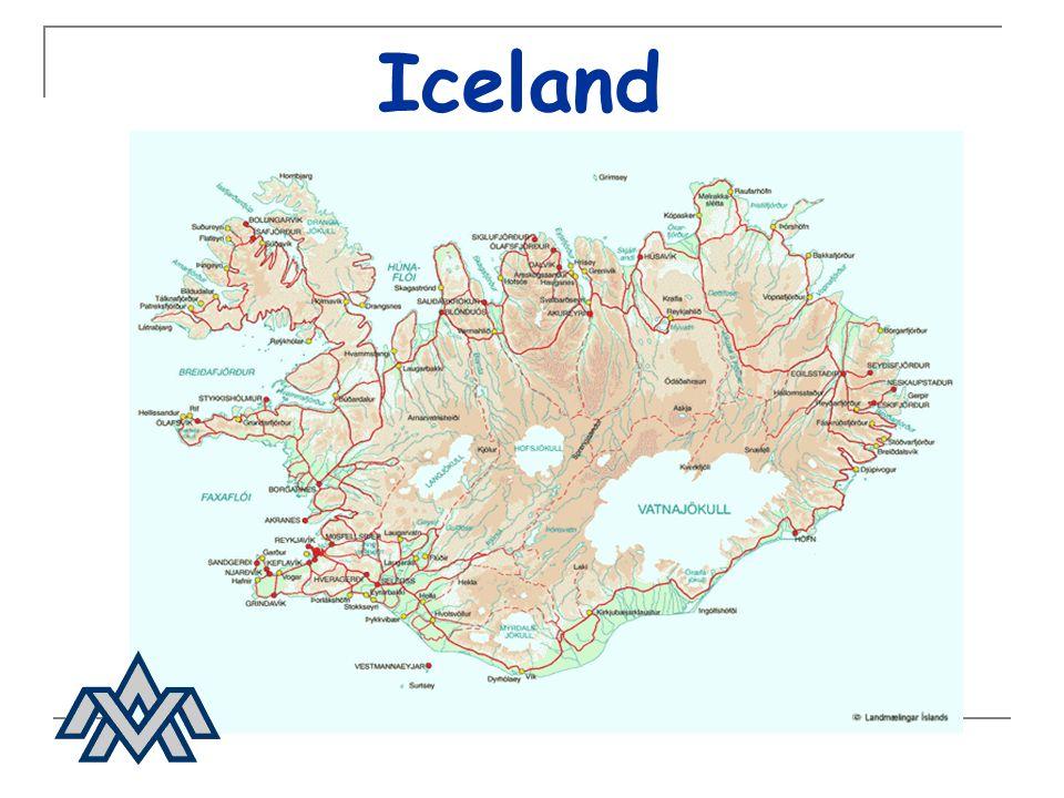 Geology Size:103 000 sq km (38 000 sq miles) Location:63°24N-66°33N 13°30W-24°32W