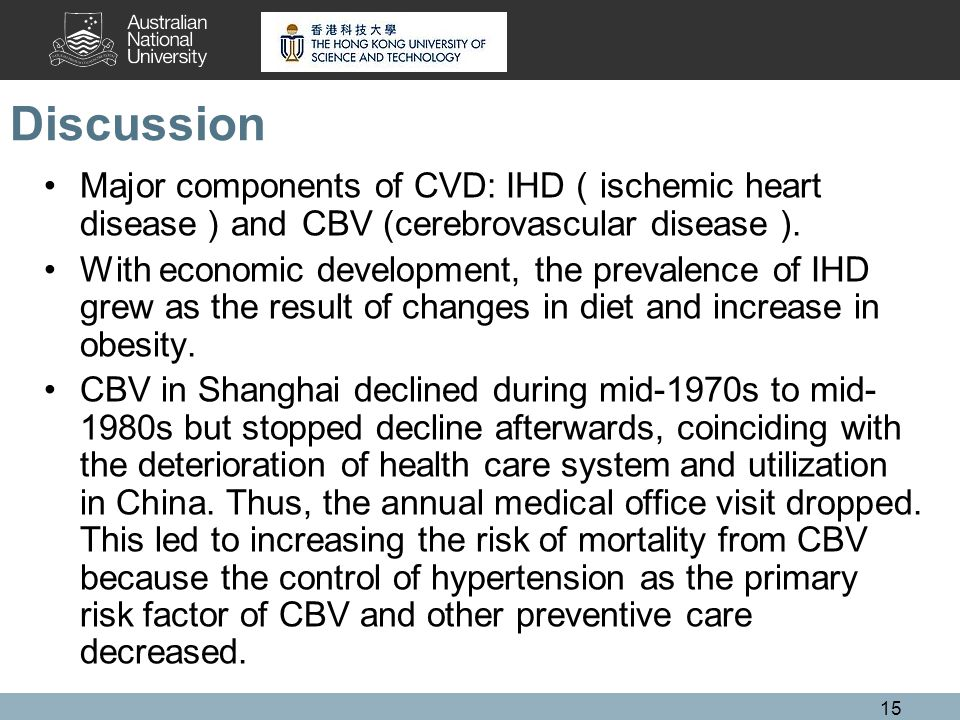 15 Discussion Major components of CVD: IHD ischemic heart disease and CBV (cerebrovascular disease ).