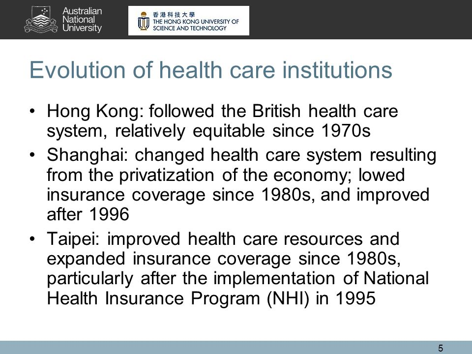 5 Evolution of health care institutions Hong Kong: followed the British health care system, relatively equitable since 1970s Shanghai: changed health care system resulting from the privatization of the economy; lowed insurance coverage since 1980s, and improved after 1996 Taipei: improved health care resources and expanded insurance coverage since 1980s, particularly after the implementation of National Health Insurance Program (NHI) in 1995