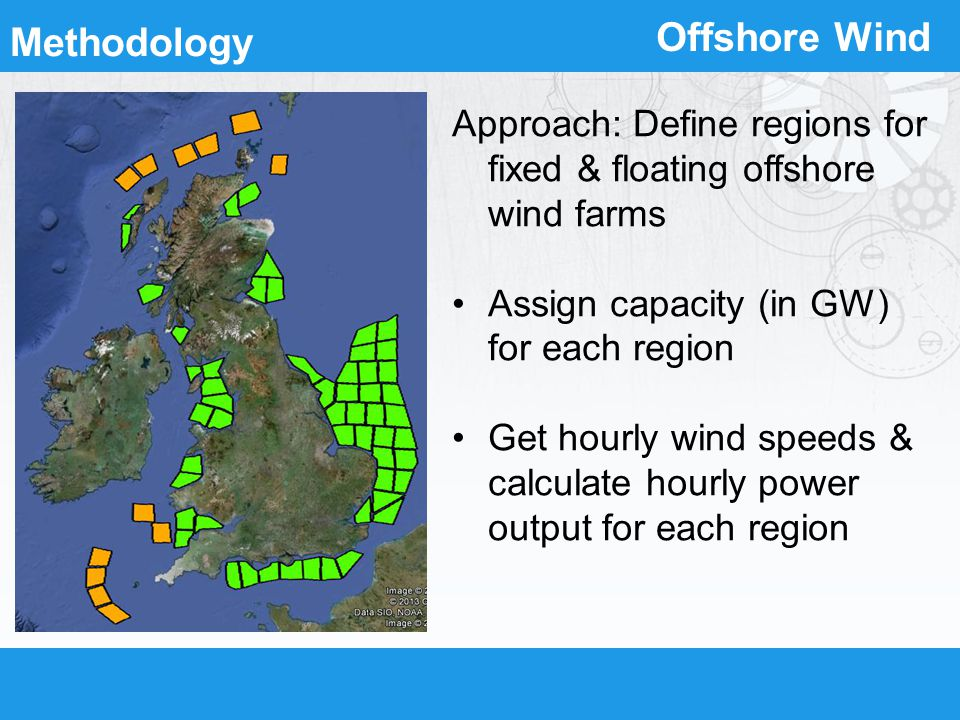 Offshore Wind Approach: Define regions for fixed & floating offshore wind farms Assign capacity (in GW) for each region Get hourly wind speeds & calcu