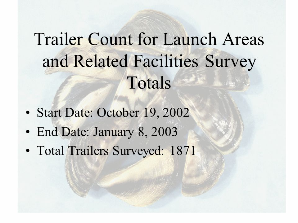 Trailer Count for Launch Areas and Related Facilities Survey Totals Start Date: October 19, 2002 End Date: January 8, 2003 Total Trailers Surveyed: 18