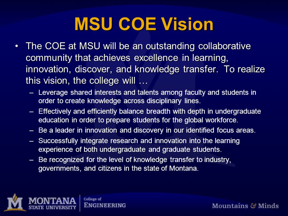 Goal 2: Increase cross-disciplinary activities at every level of the COE community, including not only faculty research and creative activity, but also the student experience ENGR 310ENGR 310 MSU Energy Research InstituteMSU Energy Research Institute –Steve Shaw, Associate Director