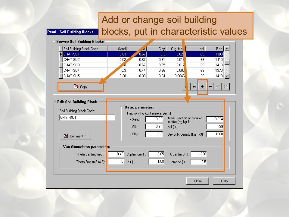 Add or change soil profile
