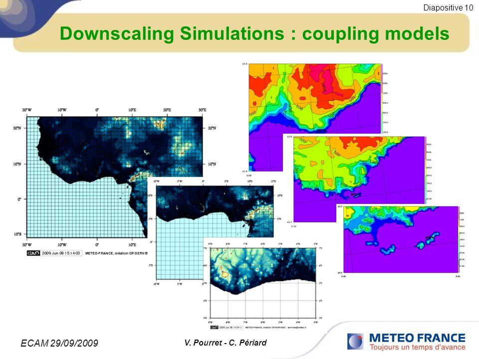 ECAM 29/09/2009 Diapositive 10 V. Pourret - C. Périard Downscaling Simulations : coupling models