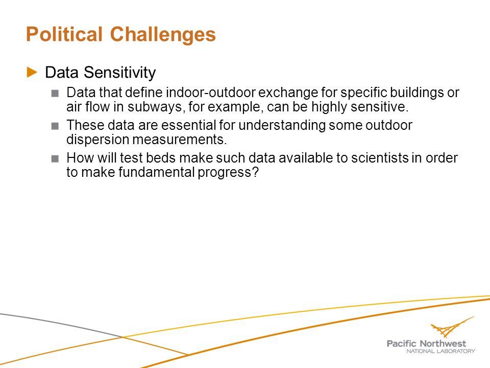 Political Challenges Data Sensitivity Data that define indoor-outdoor exchange for specific buildings or air flow in subways, for example, can be highly sensitive.