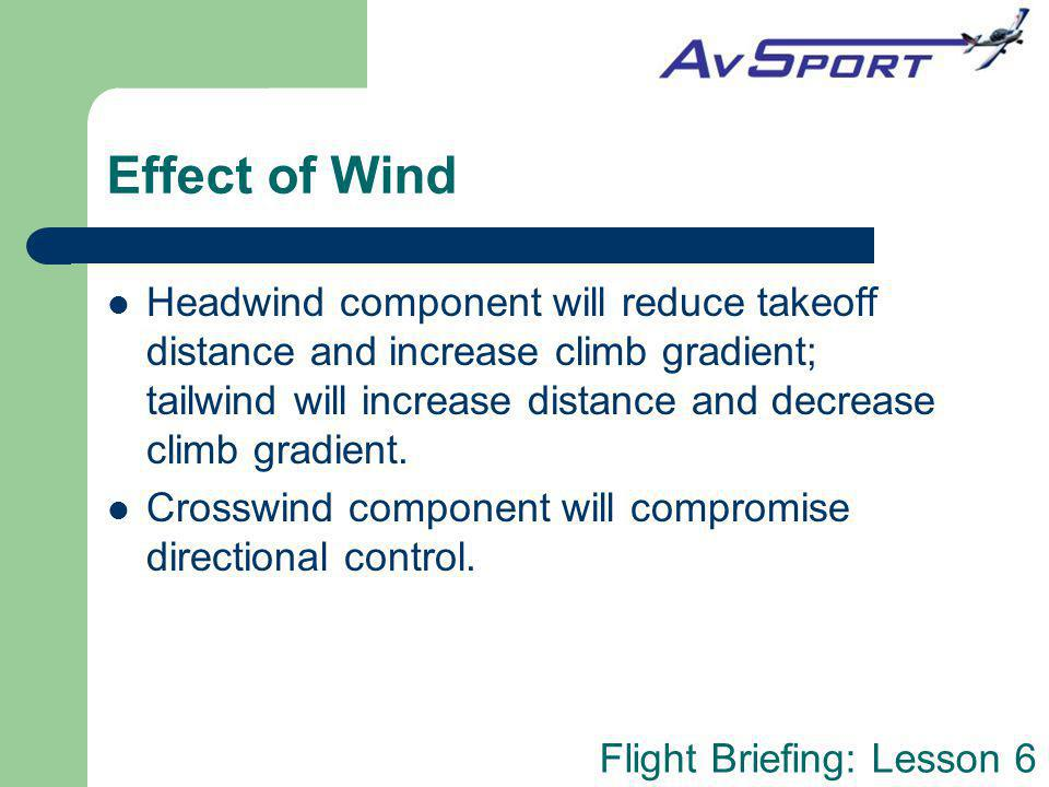 Flight Briefing: Lesson 6 Effect of Wind Headwind component will reduce takeoff distance and increase climb gradient; tailwind will increase distance
