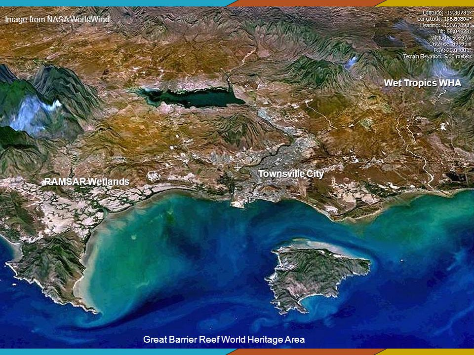 Image from NASA WorldWind Great Barrier Reef World Heritage Area Townsville City Wet Tropics WHA RAMSAR Wetlands