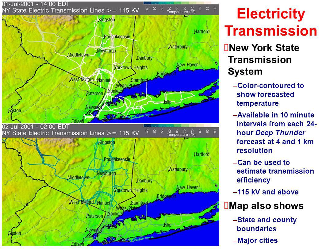Electricity Transmission New York State Transmission System –Color-contoured to show forecasted temperature –Available in 10 minute intervals from eac