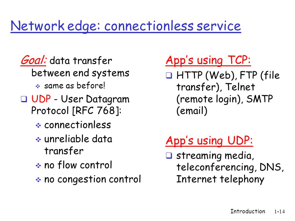 Introduction1-14 Network edge: connectionless service Goal: data transfer between end systems same as before! UDP - User Datagram Protocol [RFC 768]: