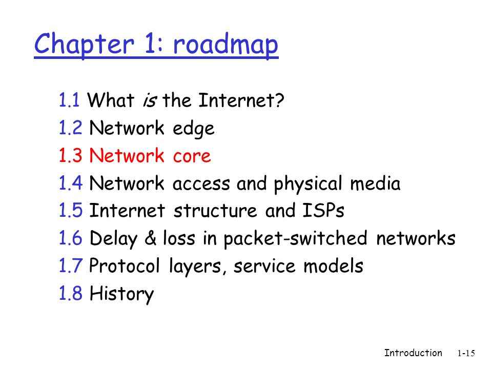 Introduction1-15 Chapter 1: roadmap 1.1 What is the Internet? 1.2 Network edge 1.3 Network core 1.4 Network access and physical media 1.5 Internet str