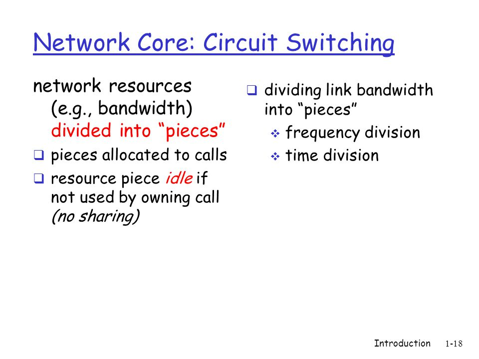 Introduction1-18 Network Core: Circuit Switching network resources (e.g., bandwidth) divided into pieces pieces allocated to calls resource piece idle if not used by owning call (no sharing) dividing link bandwidth into pieces frequency division time division