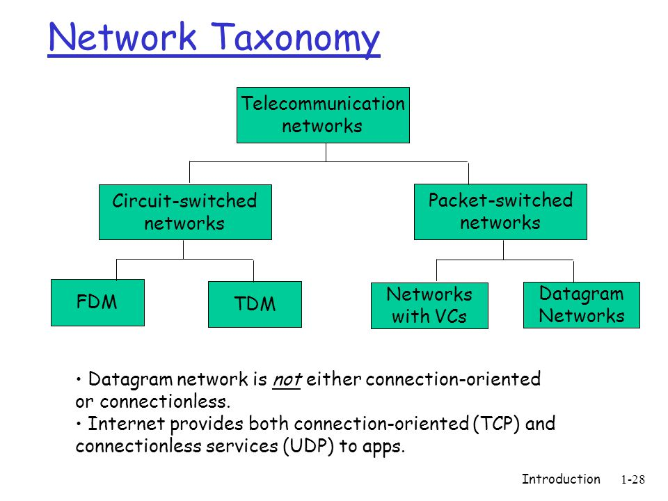 Introduction1-28 Network Taxonomy Telecommunication networks Circuit-switched networks FDM TDM Packet-switched networks Networks with VCs Datagram Networks Datagram network is not either connection-oriented or connectionless.