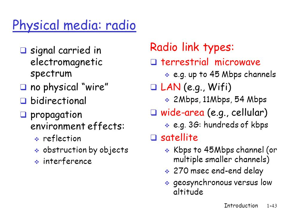 Introduction1-43 Physical media: radio signal carried in electromagnetic spectrum no physical wire bidirectional propagation environment effects: reflection obstruction by objects interference Radio link types: terrestrial microwave e.g.