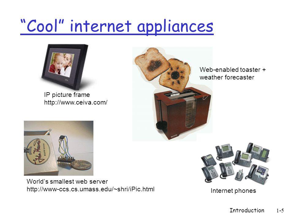 Introduction1-5 Cool internet appliances Worlds smallest web server http://www-ccs.cs.umass.edu/~shri/iPic.html IP picture frame http://www.ceiva.com/