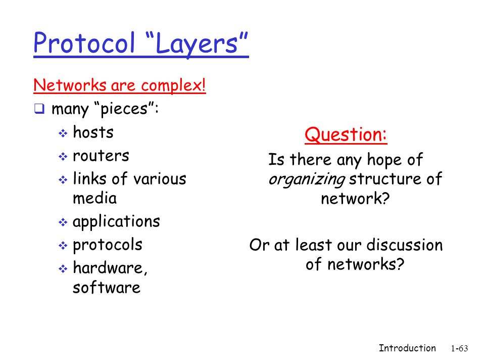 Introduction1-63 Protocol Layers Networks are complex! many pieces: hosts routers links of various media applications protocols hardware, software Que