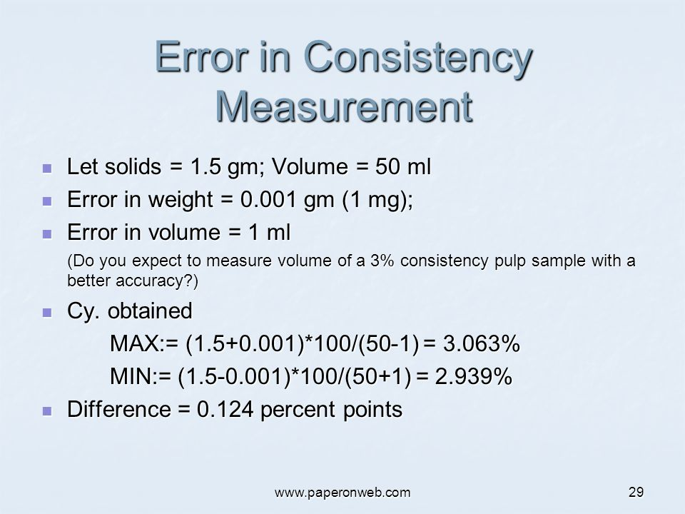 www.paperonweb.com29 Error in Consistency Measurement Let solids = 1.5 gm; Volume = 50 ml Let solids = 1.5 gm; Volume = 50 ml Error in weight = 0.001