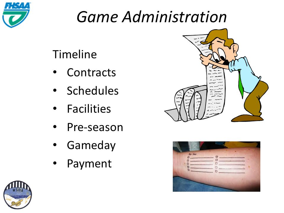 Game Administration Timeline Contracts Schedules Facilities Pre-season Gameday Payment