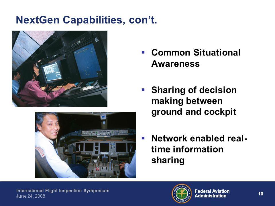 10 International Flight Inspection Symposium June 24, 2008 Federal Aviation Administration NextGen Capabilities, cont. Common Situational Awareness Sh